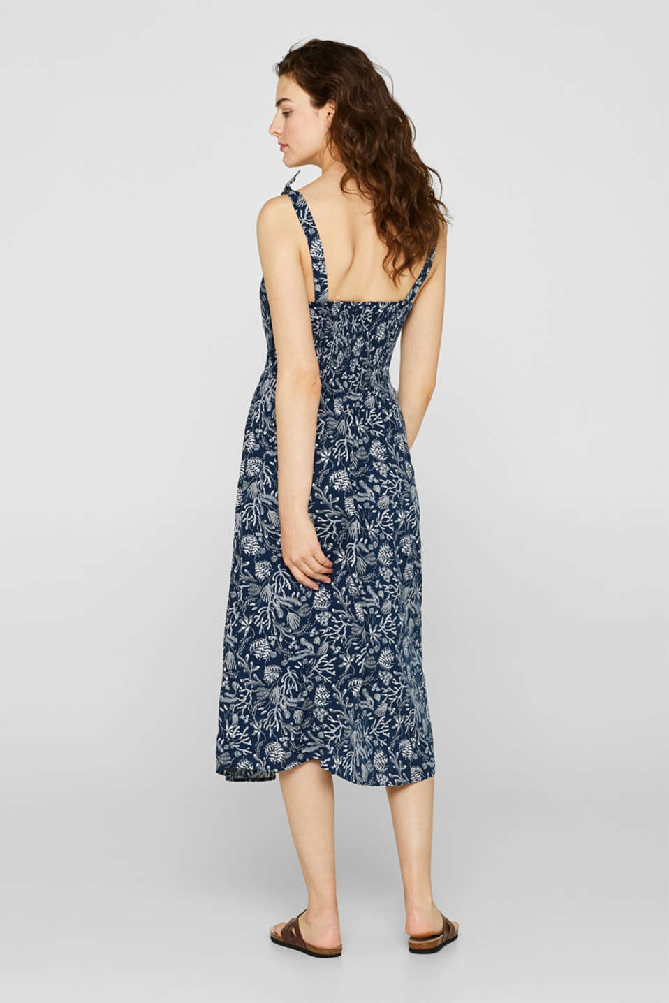 Woven print dress with ribbon straps, NAVY, detail image number 2