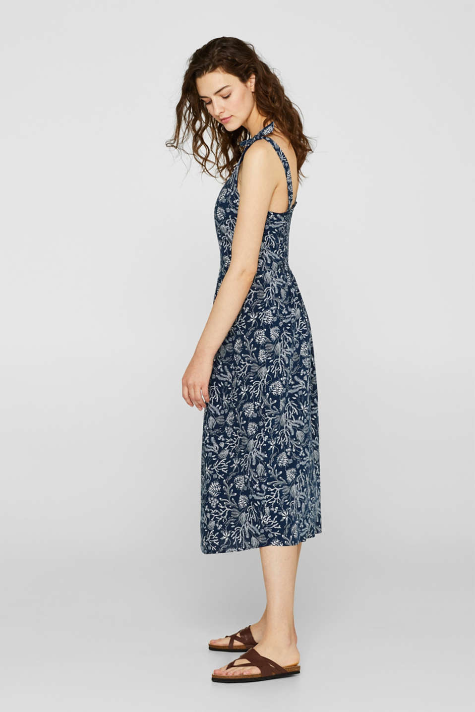 Woven print dress with ribbon straps, NAVY, detail image number 4