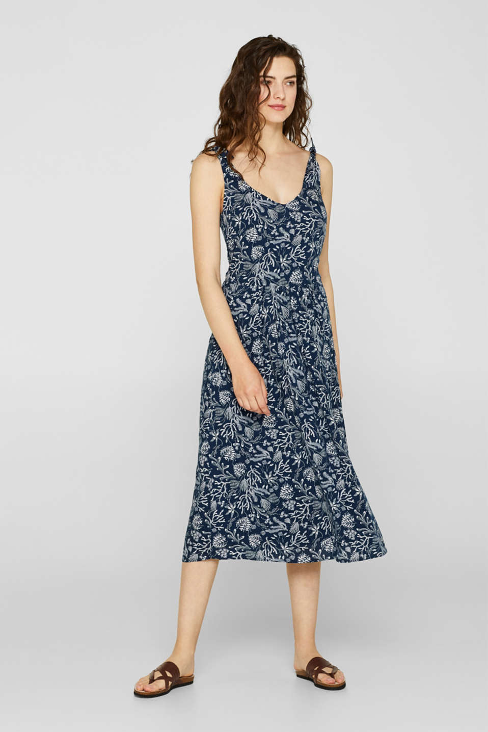 Woven print dress with ribbon straps, NAVY, detail image number 1