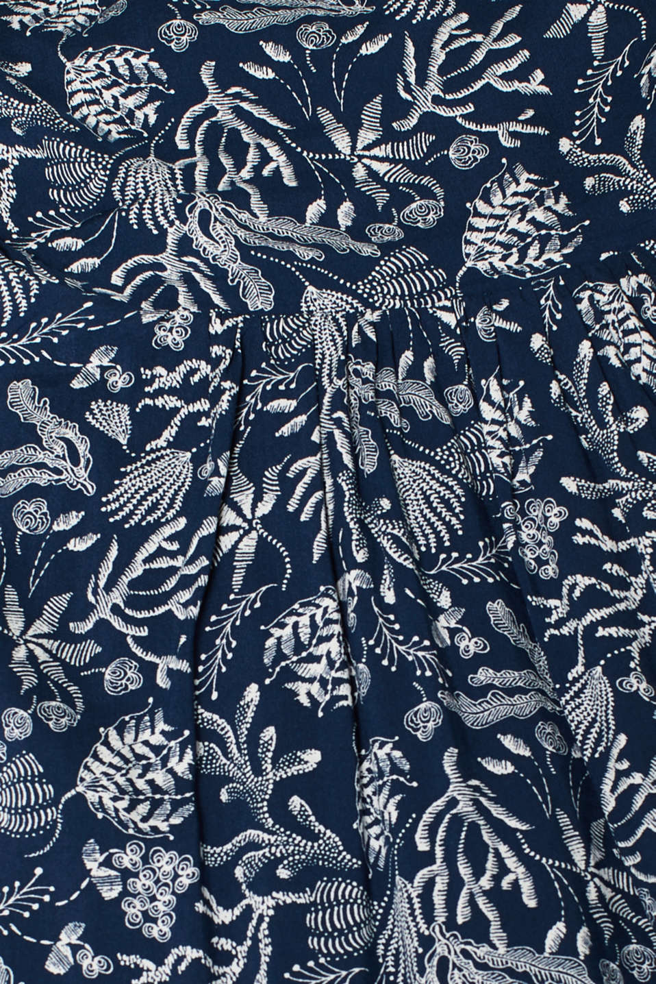Woven print dress with ribbon straps, NAVY, detail image number 5