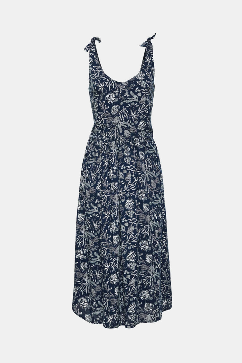 Woven print dress with ribbon straps, NAVY, detail image number 6
