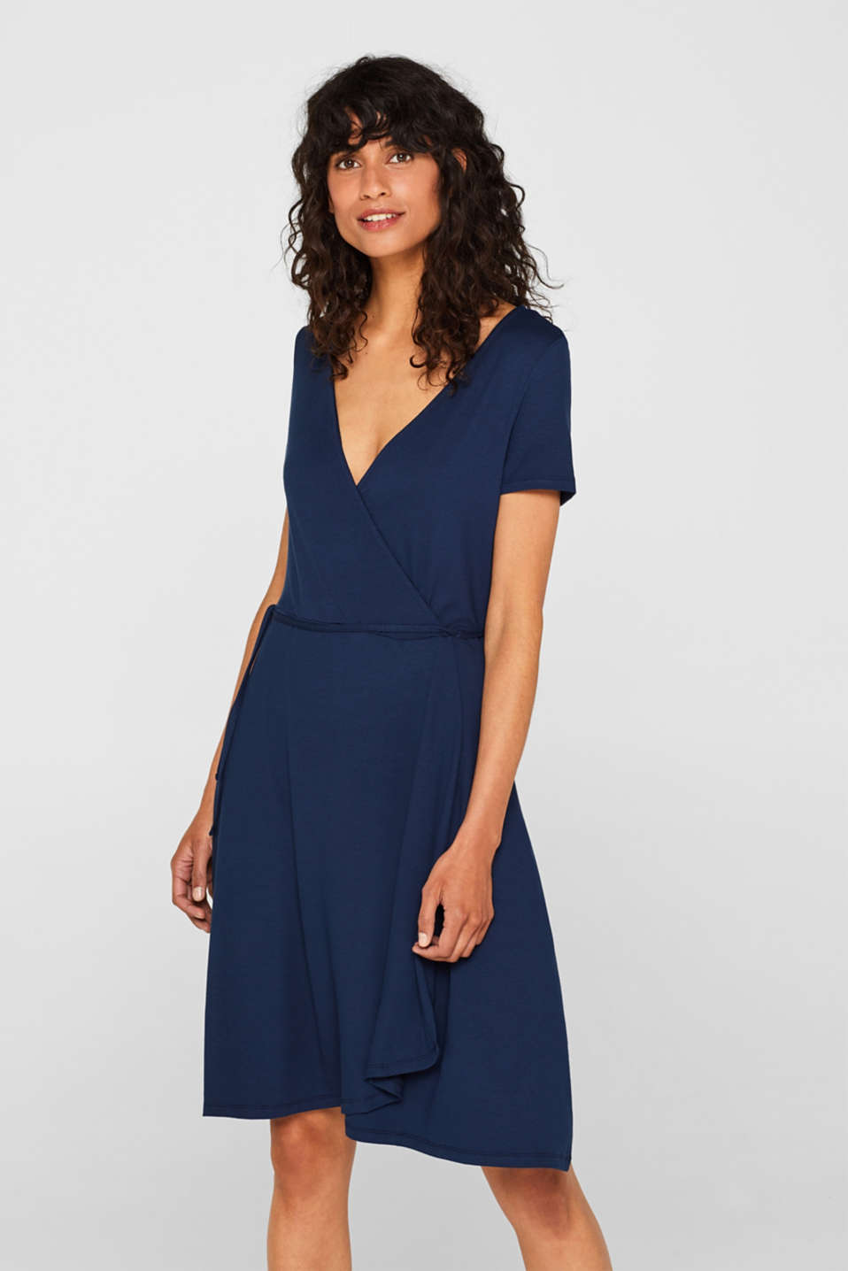 Esprit - Stretch jersey dress in a wrap-over look
