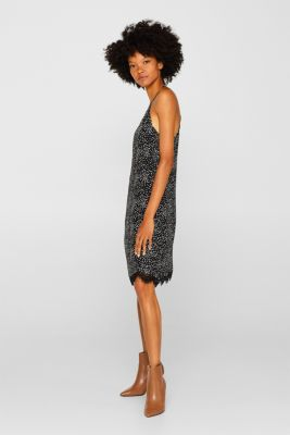 Dress with a leopard print and lace, BLACK, detail