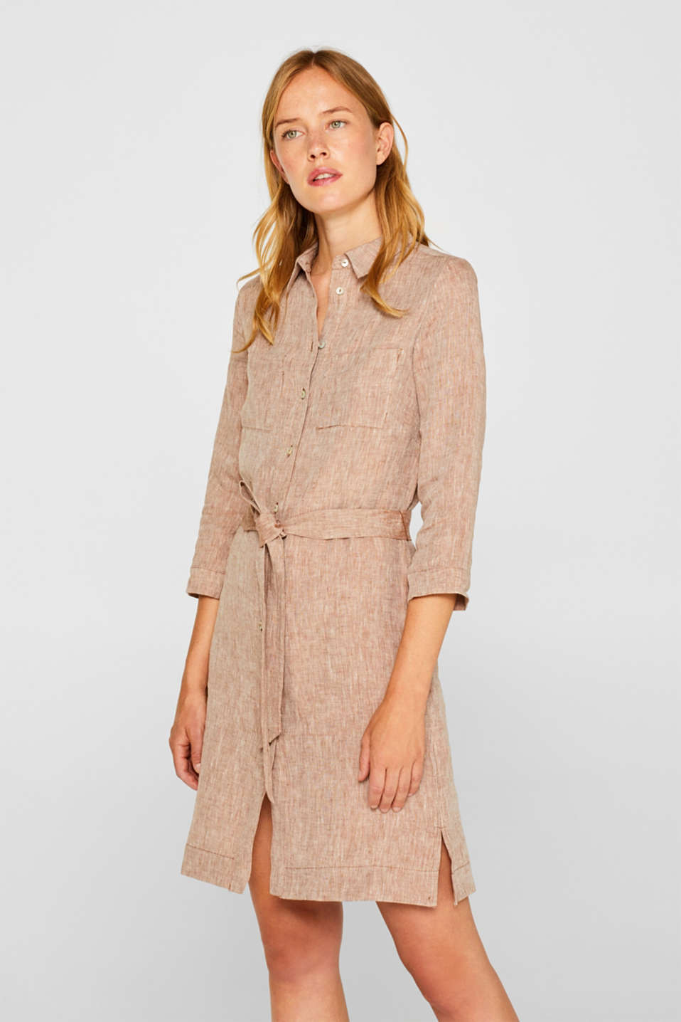 Esprit - Made of 100% linen: melange shirt dress