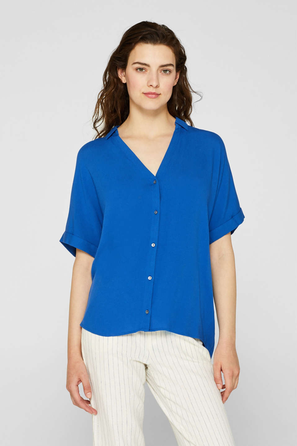 Shirt blouse in crêpe fabric, BLUE, detail image number 0
