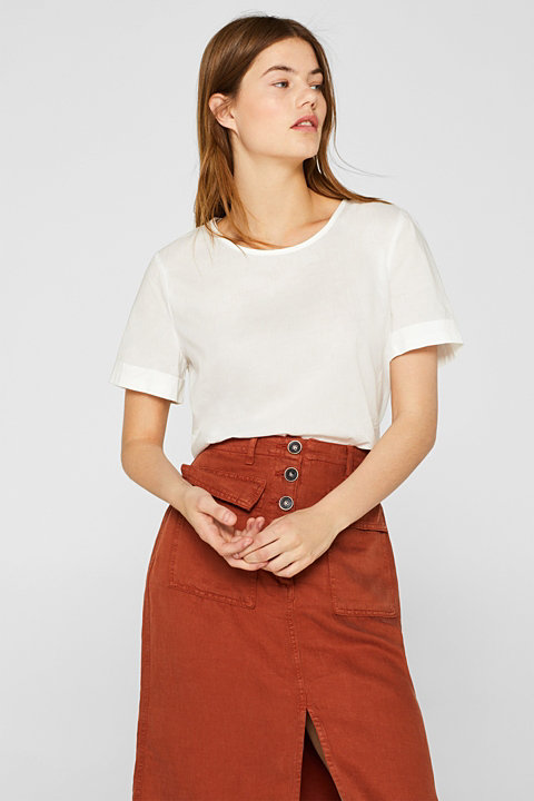 Short-sleeved blouse with button placket, 100% cotton