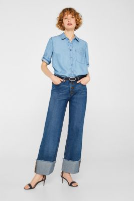 Denim-look blouse made of lyocell, BLUE LIGHT WASH, detail