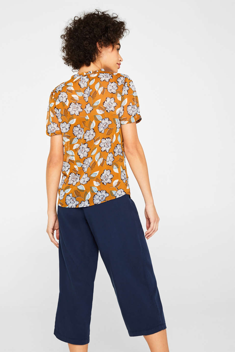 2-in-1 blouse top in crinkle chiffon, TOFFEE, detail image number 3
