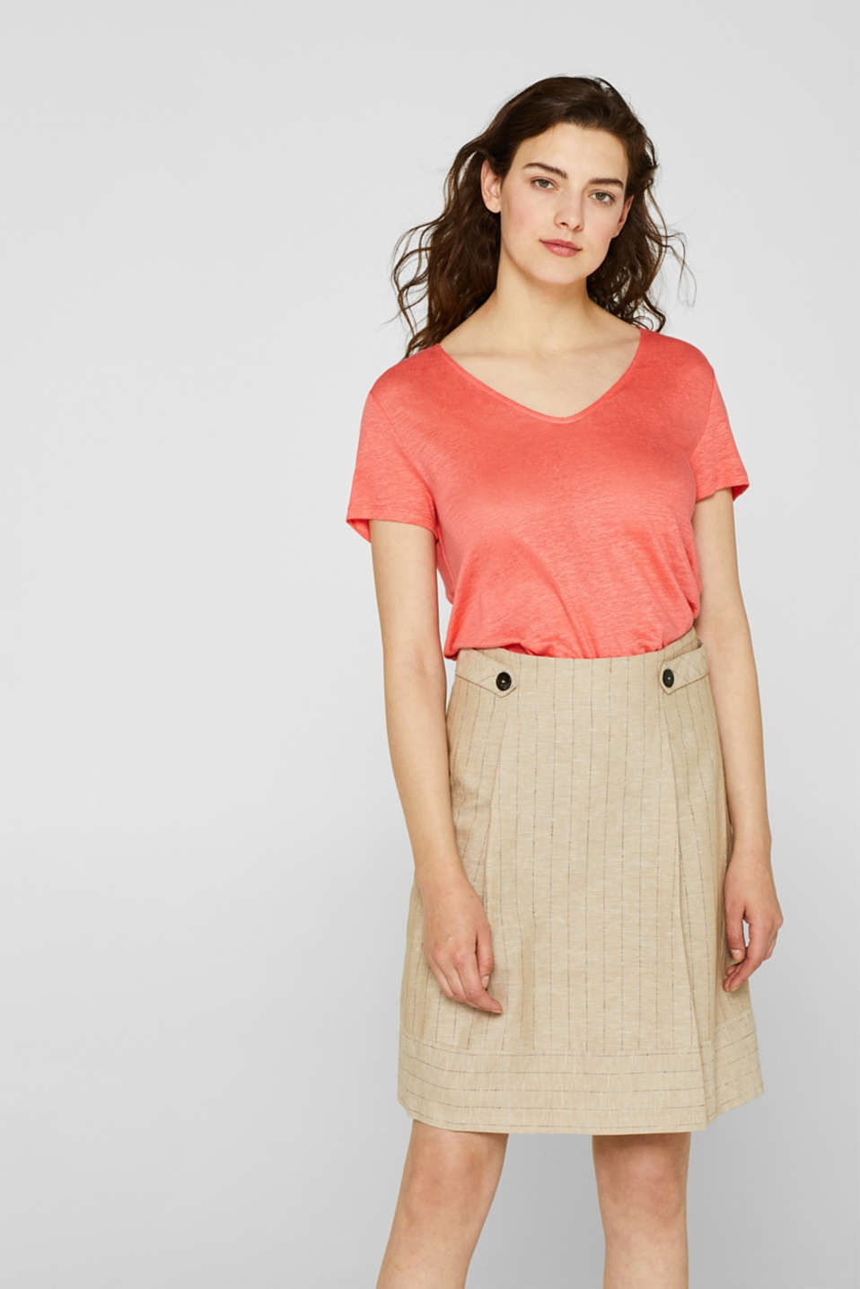 Esprit - 100% linen: top with bow on the back
