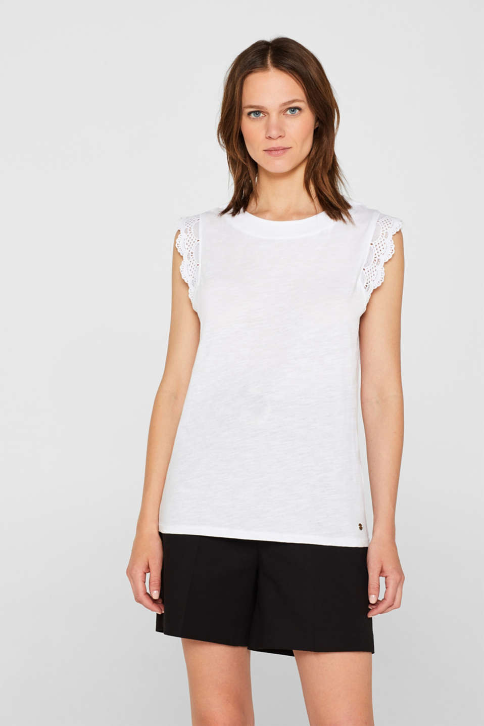 Esprit - Slub jersey top with crocheted lace