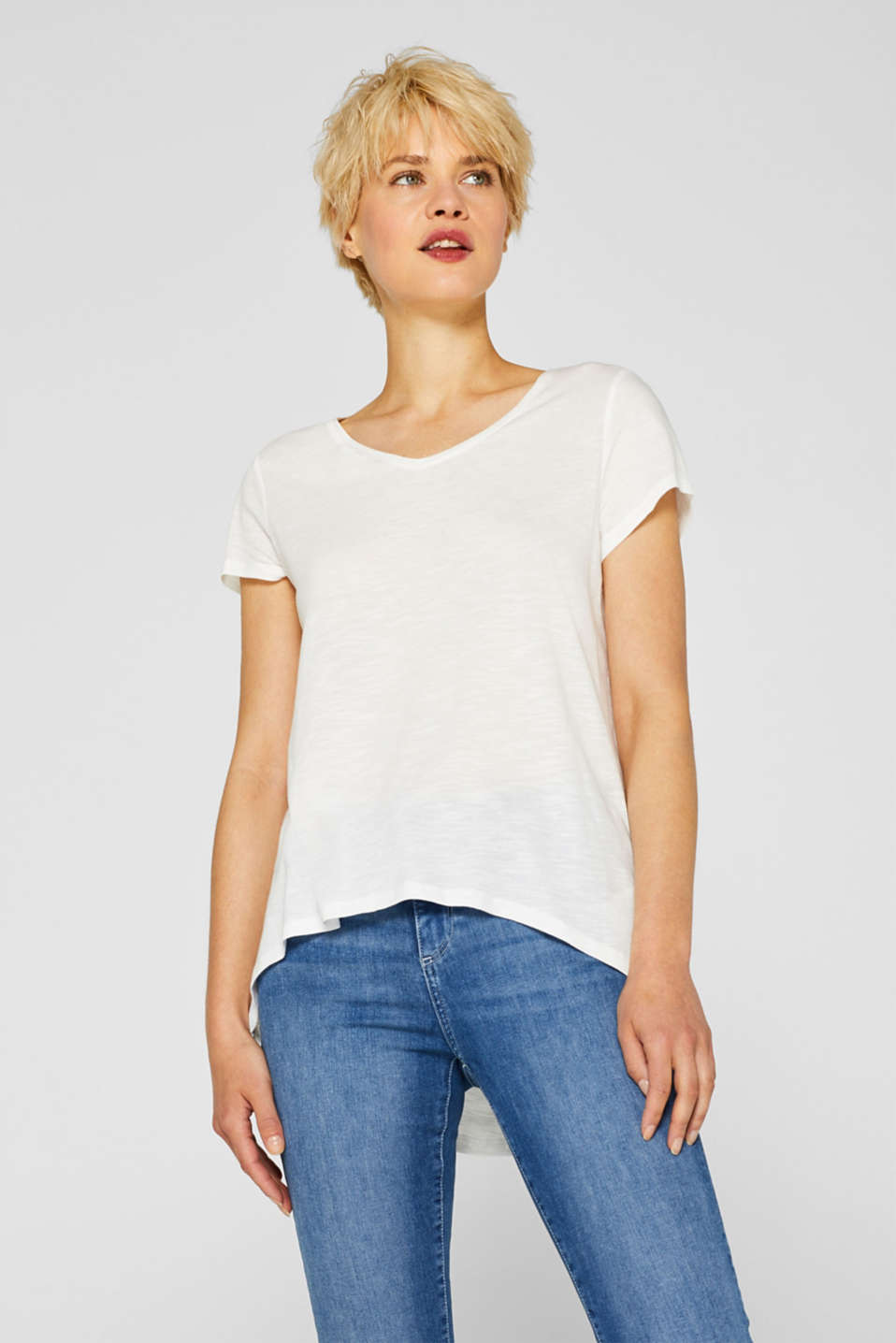 Esprit - Slub jersey top with a rounded, high-low hem