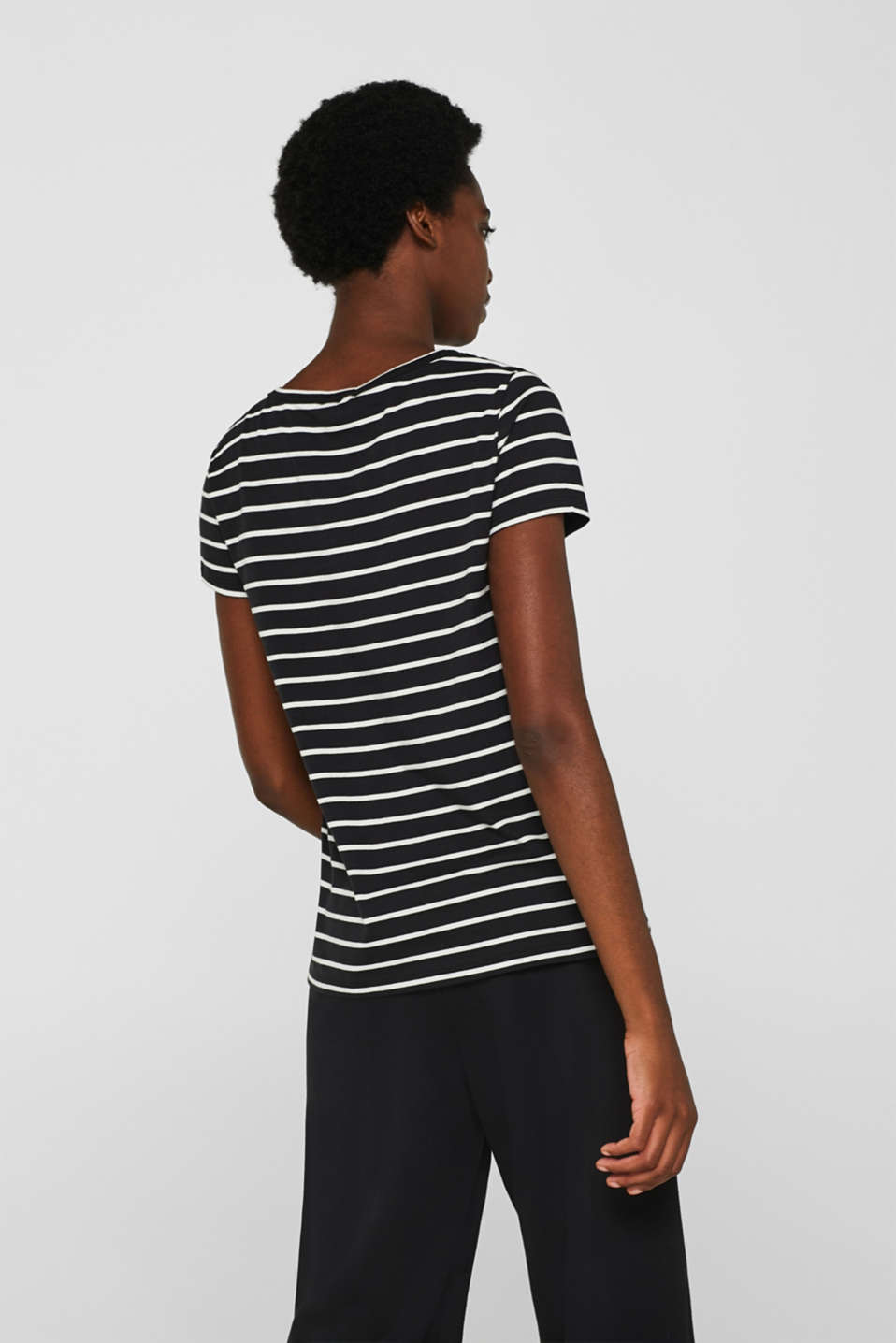 Striped top with organic cotton, 100% cotton, BLACK, detail image number 3