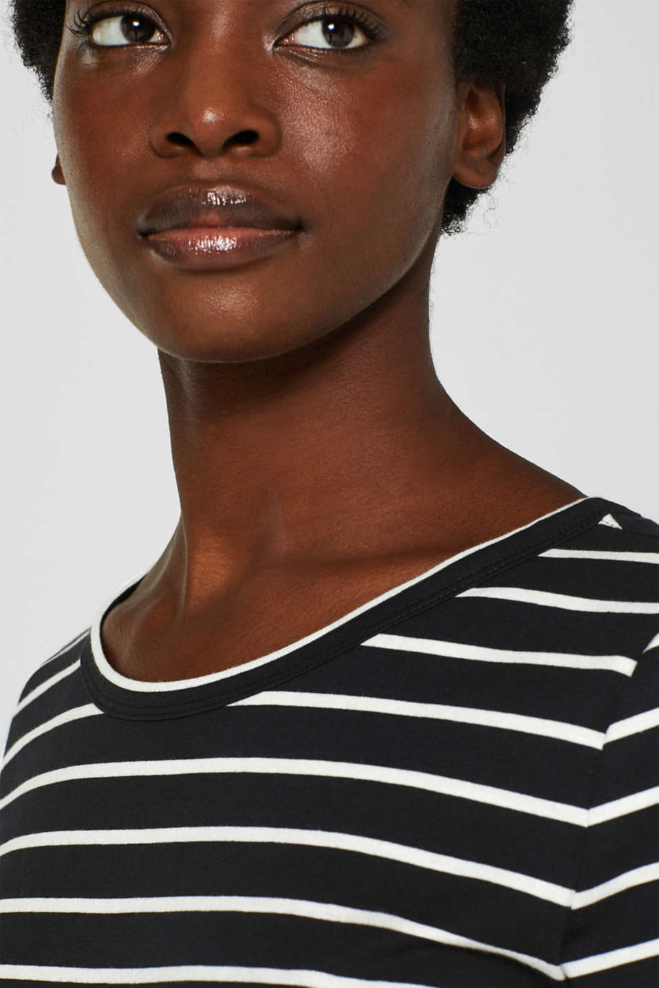 Striped top with organic cotton, 100% cotton, BLACK, detail image number 2