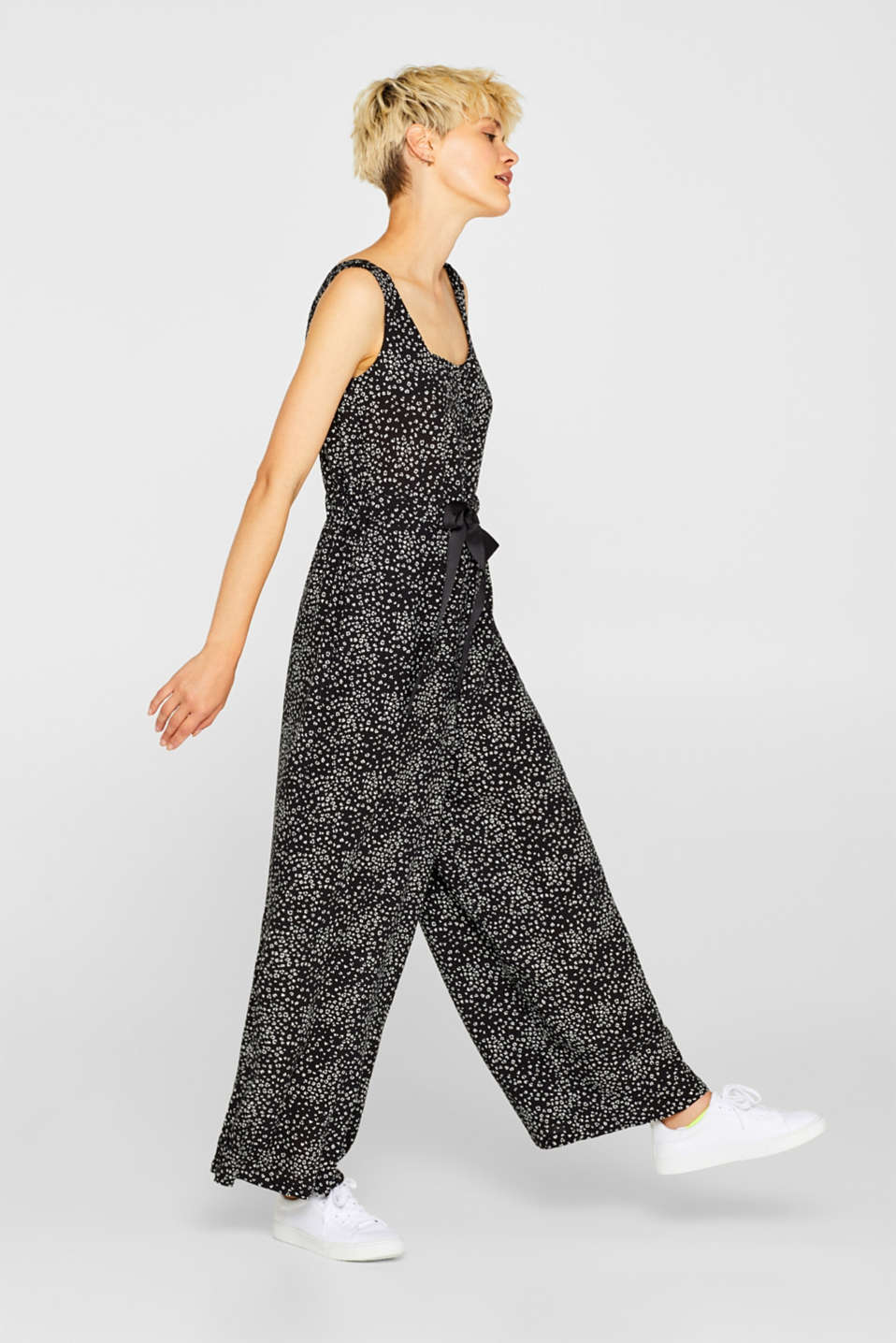 Wide leg jumpsuit with leopard print, BLACK, detail