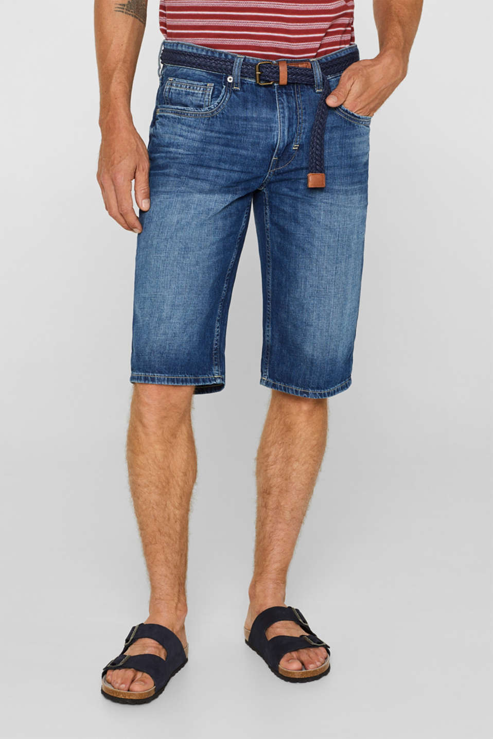 Esprit - Denim shorts with a belt, 100% cotton