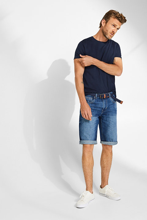 Denim shorts with a belt, 100% cotton