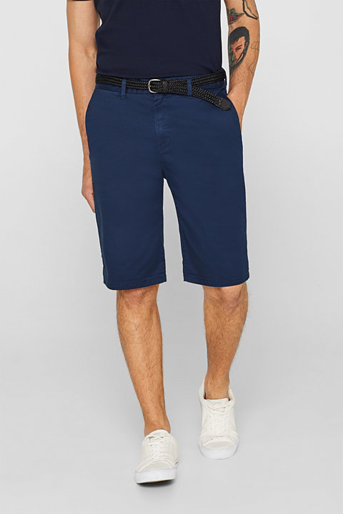 Stretch cotton chino shorts with a belt