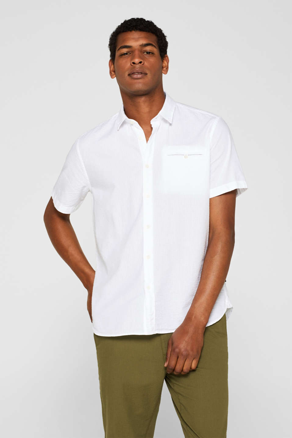 Esprit - Short-sleeved seersucker shirt, 100% cotton