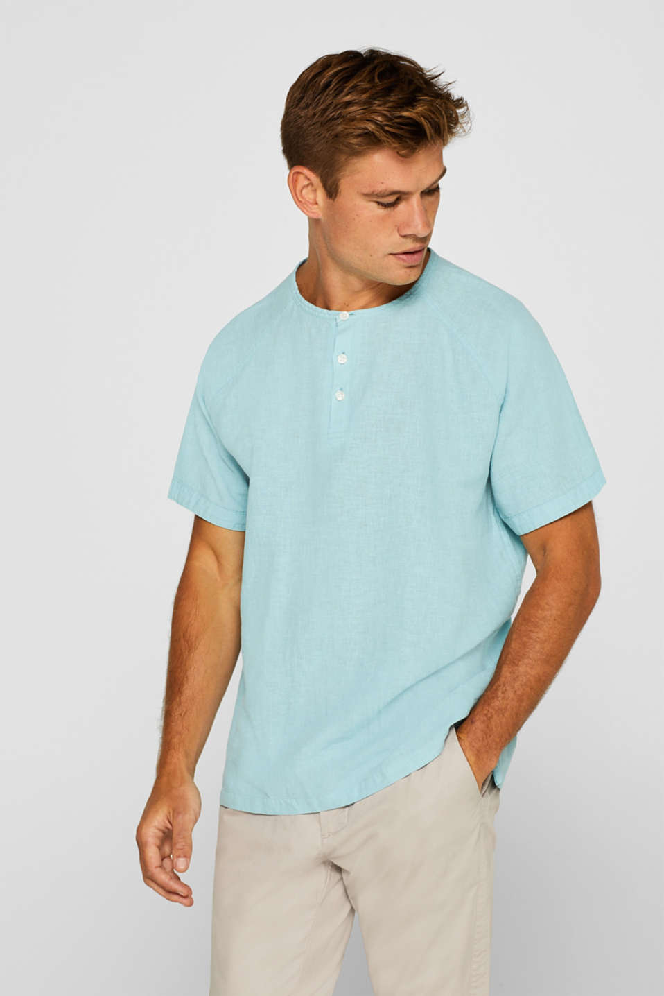 Esprit - Blended linen short-sleeved top with a Henley collar