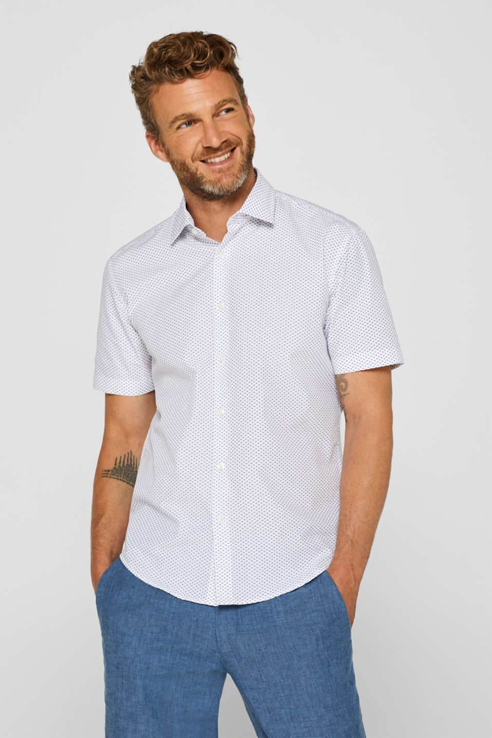 Esprit - Patterned short sleeve shirt with COOLMAX®