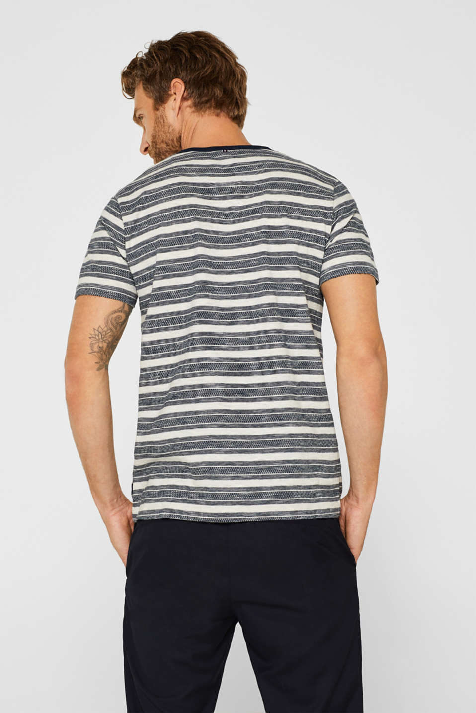 Jersey T-shirt with stripes and a breast pocket, OFF WHITE, detail image number 3