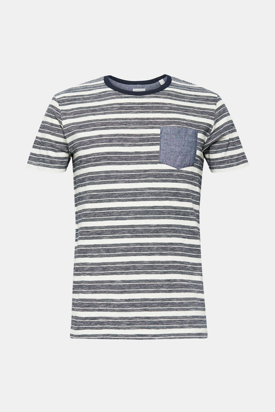 Jersey T-shirt with stripes and a breast pocket, OFF WHITE, detail image number 7