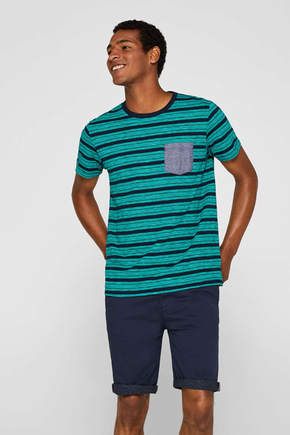 Esprit - Jersey T-shirt with tribal stripes, 100% cotton