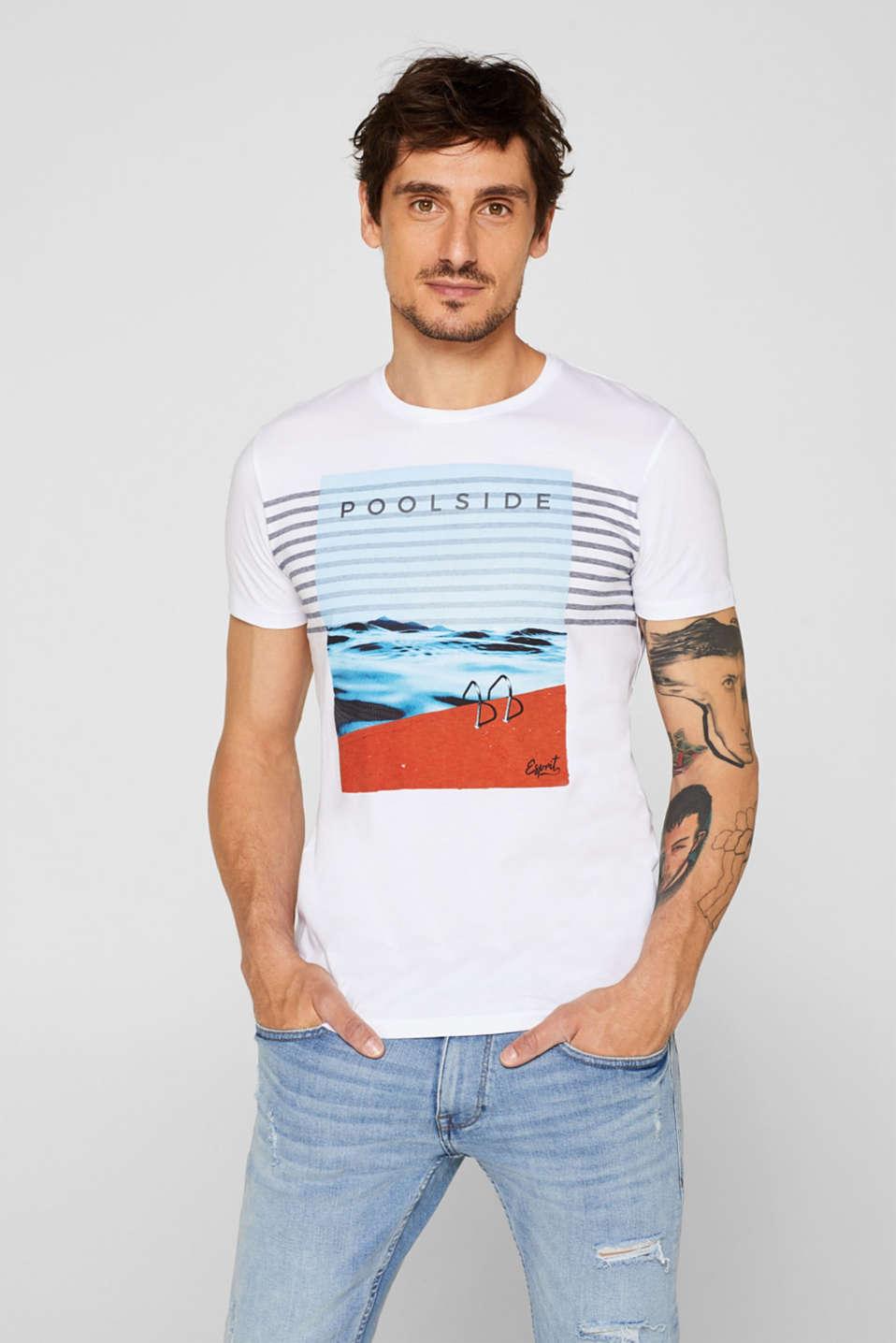 Esprit Jersey T shirt med somrigt tryck, 100% bomull i