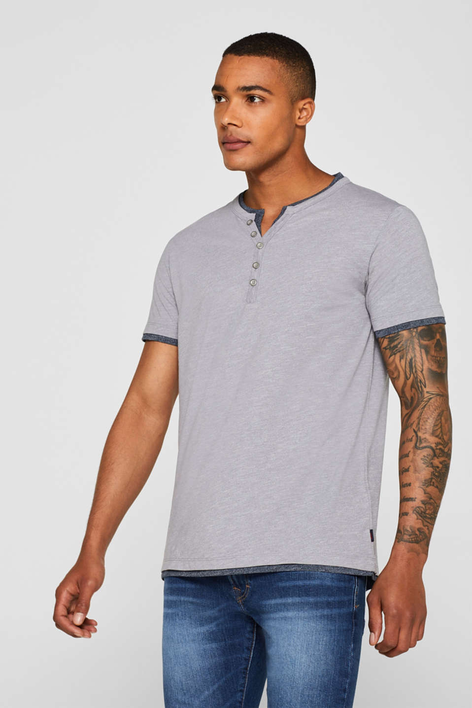 Esprit - Henley-shirt med layer-look, i jersey
