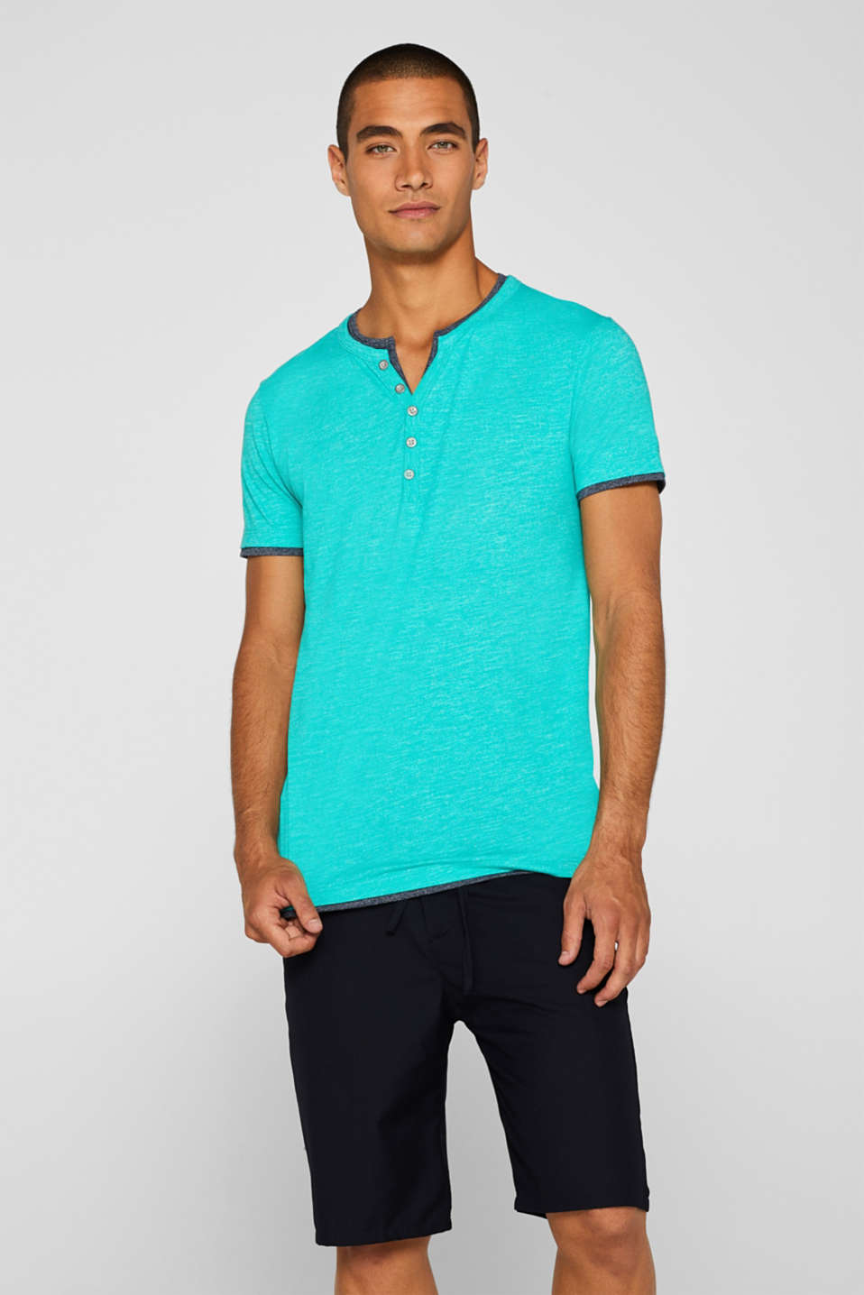 Esprit - Layered-effect Henley tee made of jersey