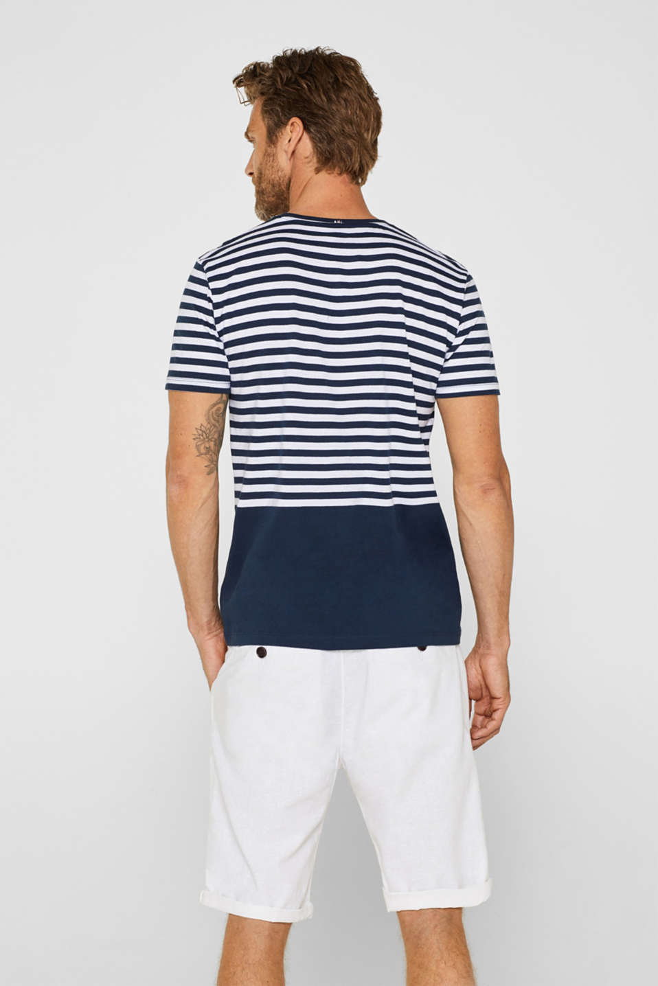 Jersey T-shirt with stripes, 100% cotton, NAVY, detail image number 3