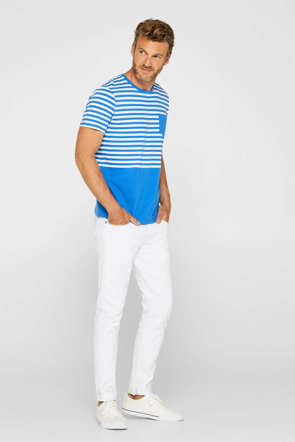 Jersey T-shirt with stripes, 100% cotton, BLUE, detail image number 2