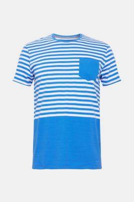 Jersey T-shirt with stripes, 100% cotton, BLUE, detail