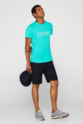 Jersey T-shirt with logo print, 100% cotton, AQUA GREEN, detail