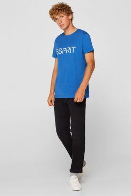 Jersey T-shirt with logo print, 100% cotton, BLUE, detail
