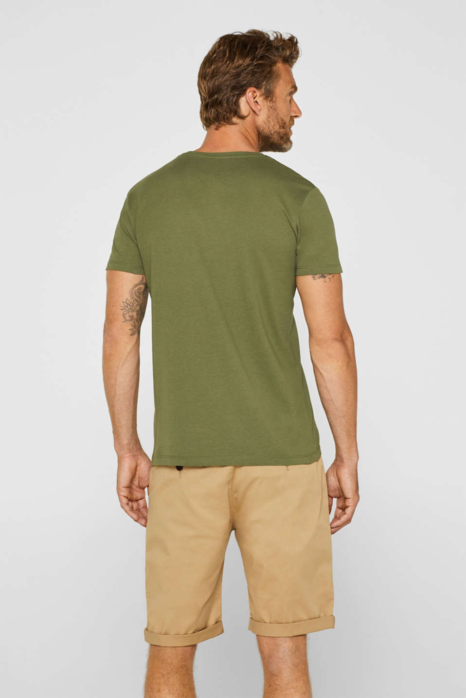 Double pack of T-shirts made of 100% cotton, KHAKI GREEN, detail image number 3