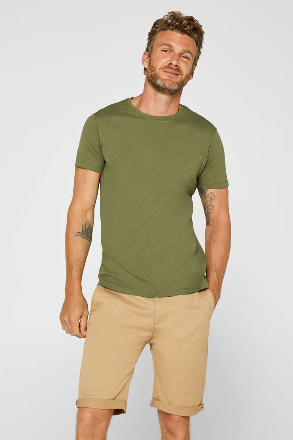 Double pack of T-shirts made of 100% cotton, KHAKI GREEN, detail image number 4