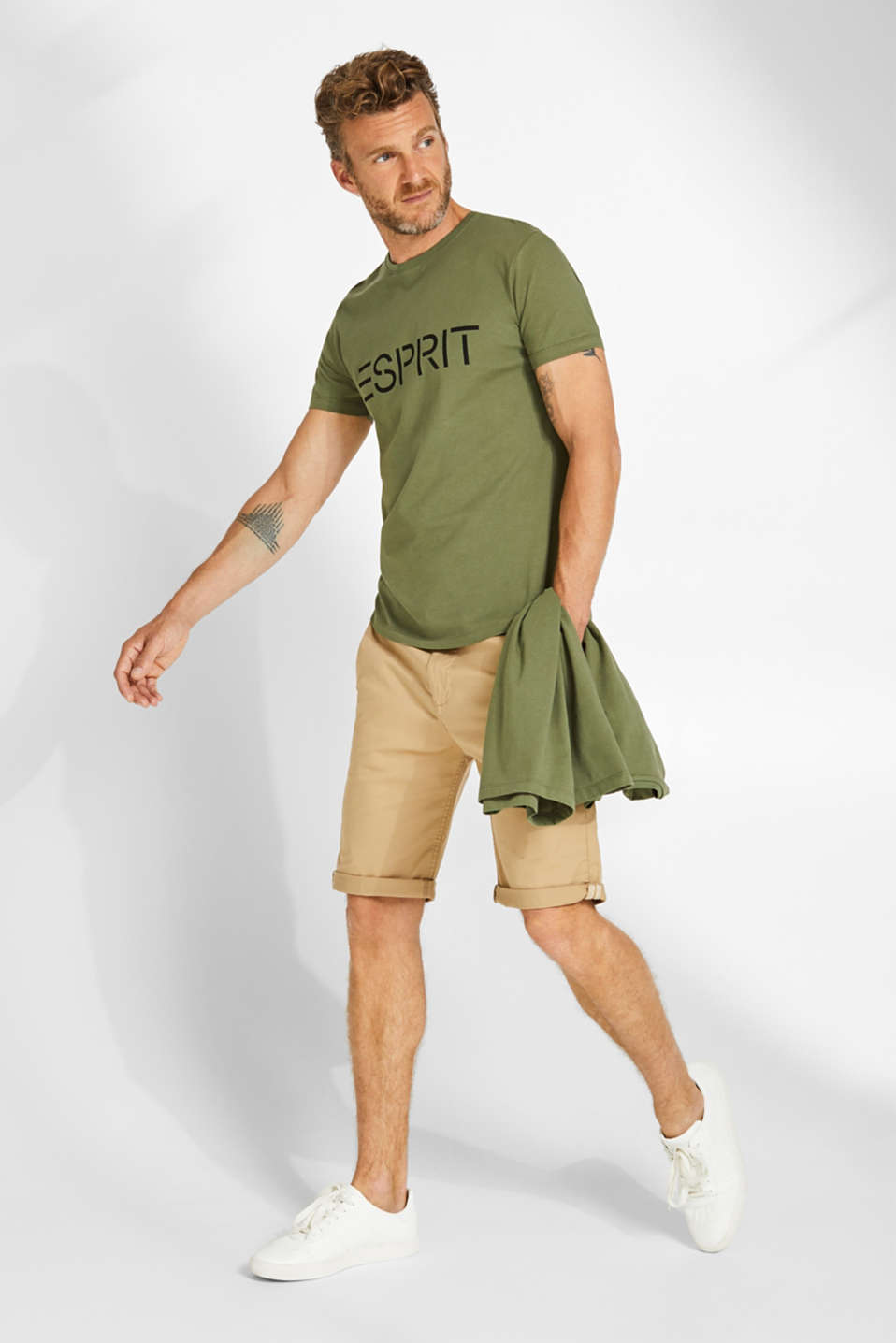 Double pack of T-shirts made of 100% cotton, KHAKI GREEN, detail image number 1