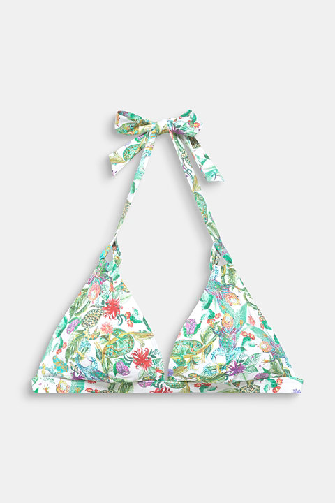 Padded halterneck top with a tropical print