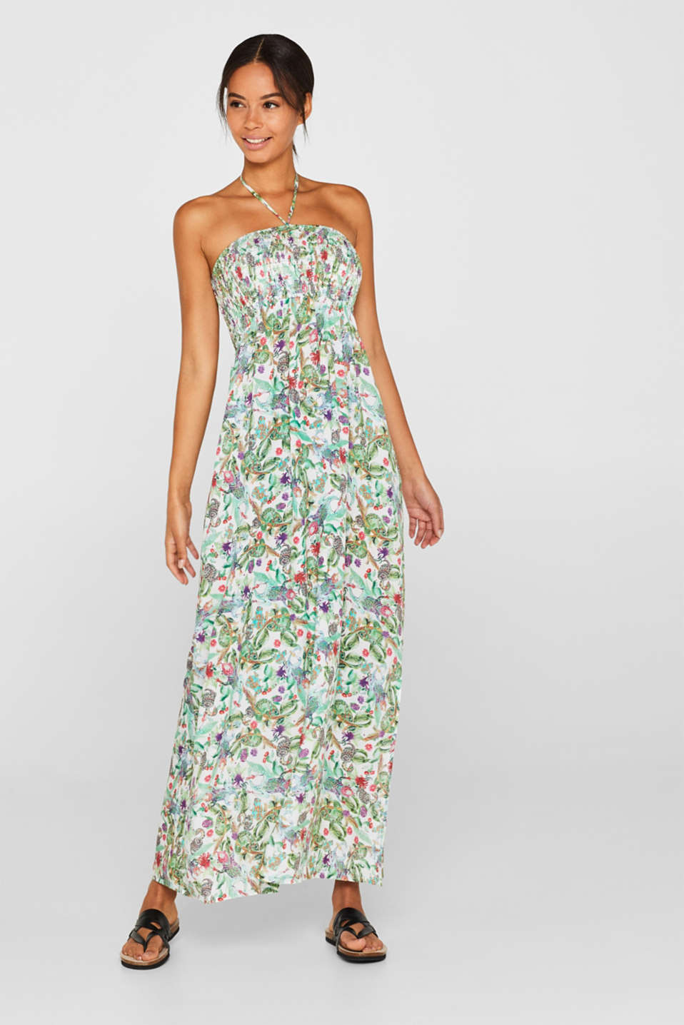 Esprit - Smocked maxi dress with a tropical print