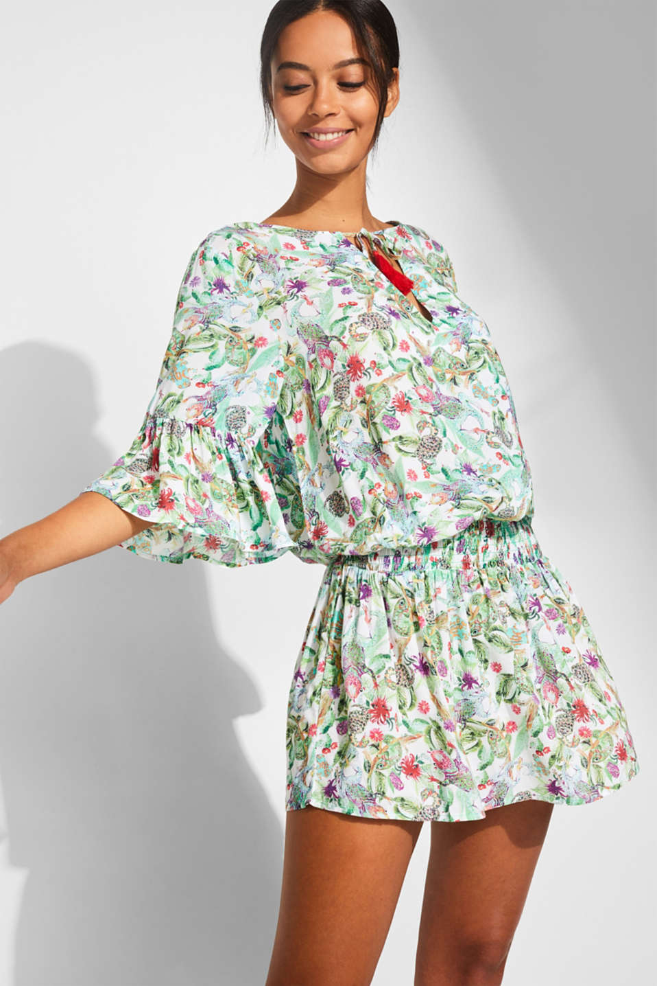 Esprit - Printed tunic dress with flounce sleeves
