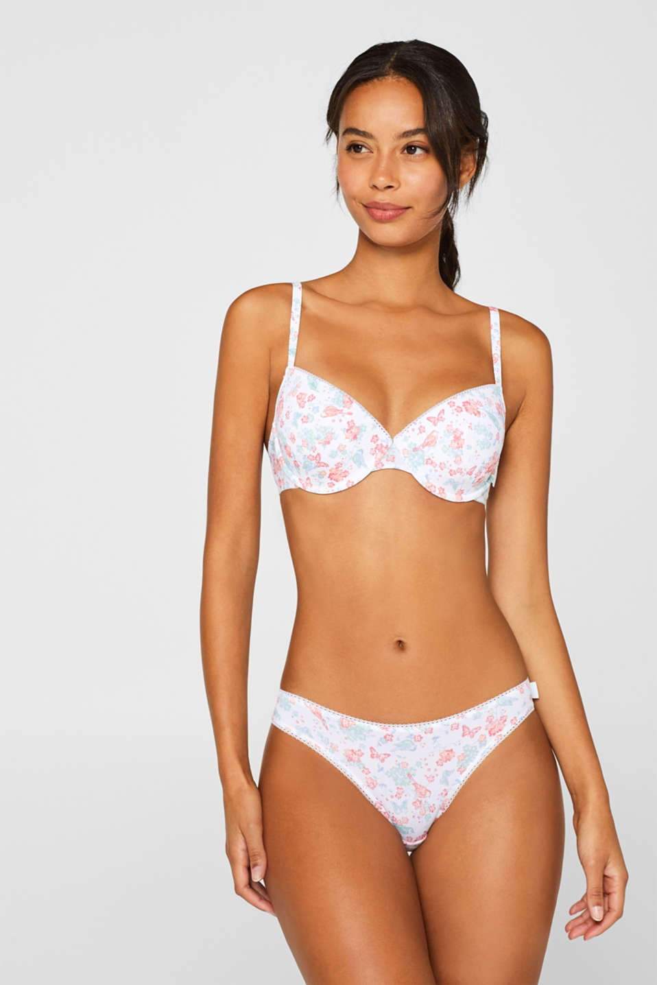 Esprit - Padded underwire bra with a spring print