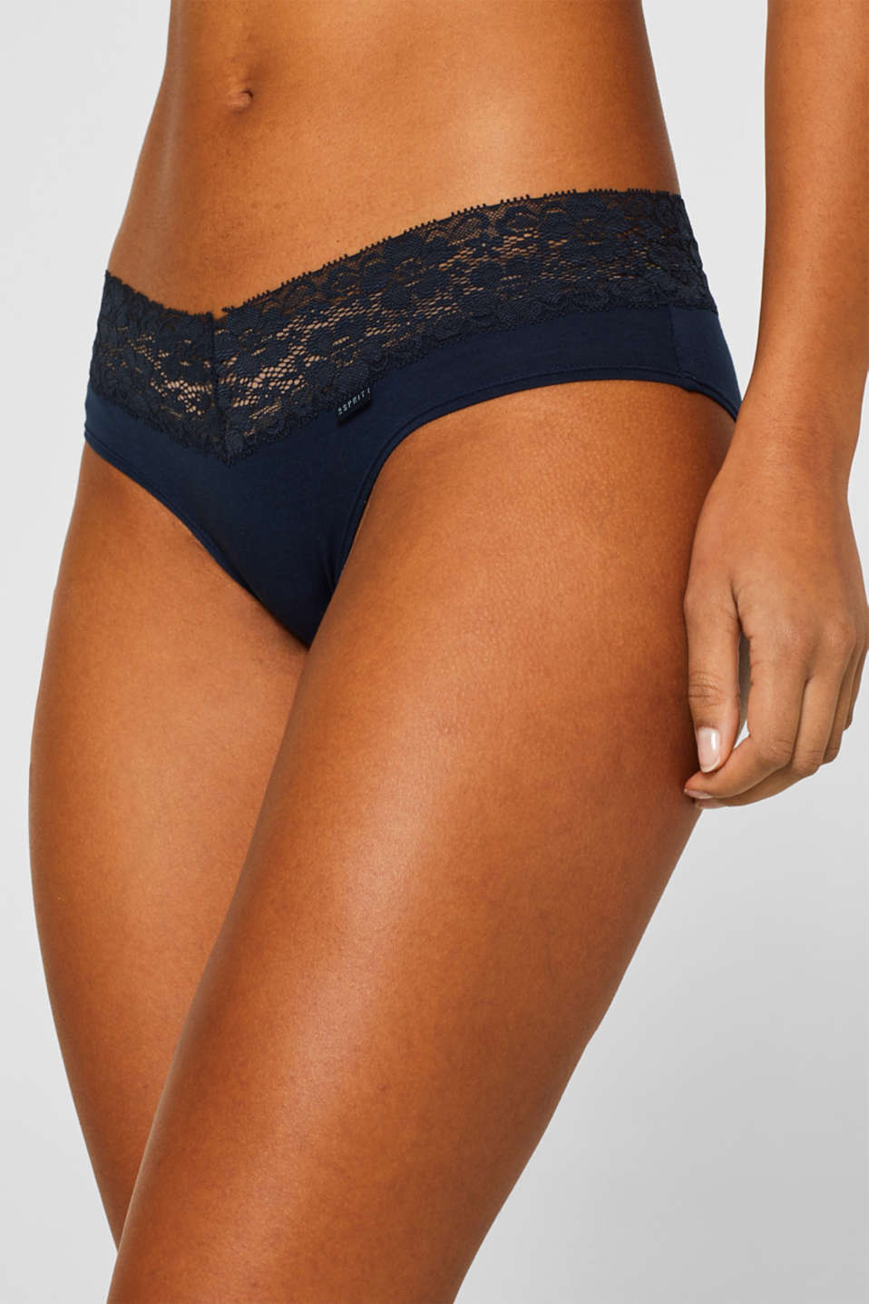 Esprit - Hipster shorts with a lace waistband