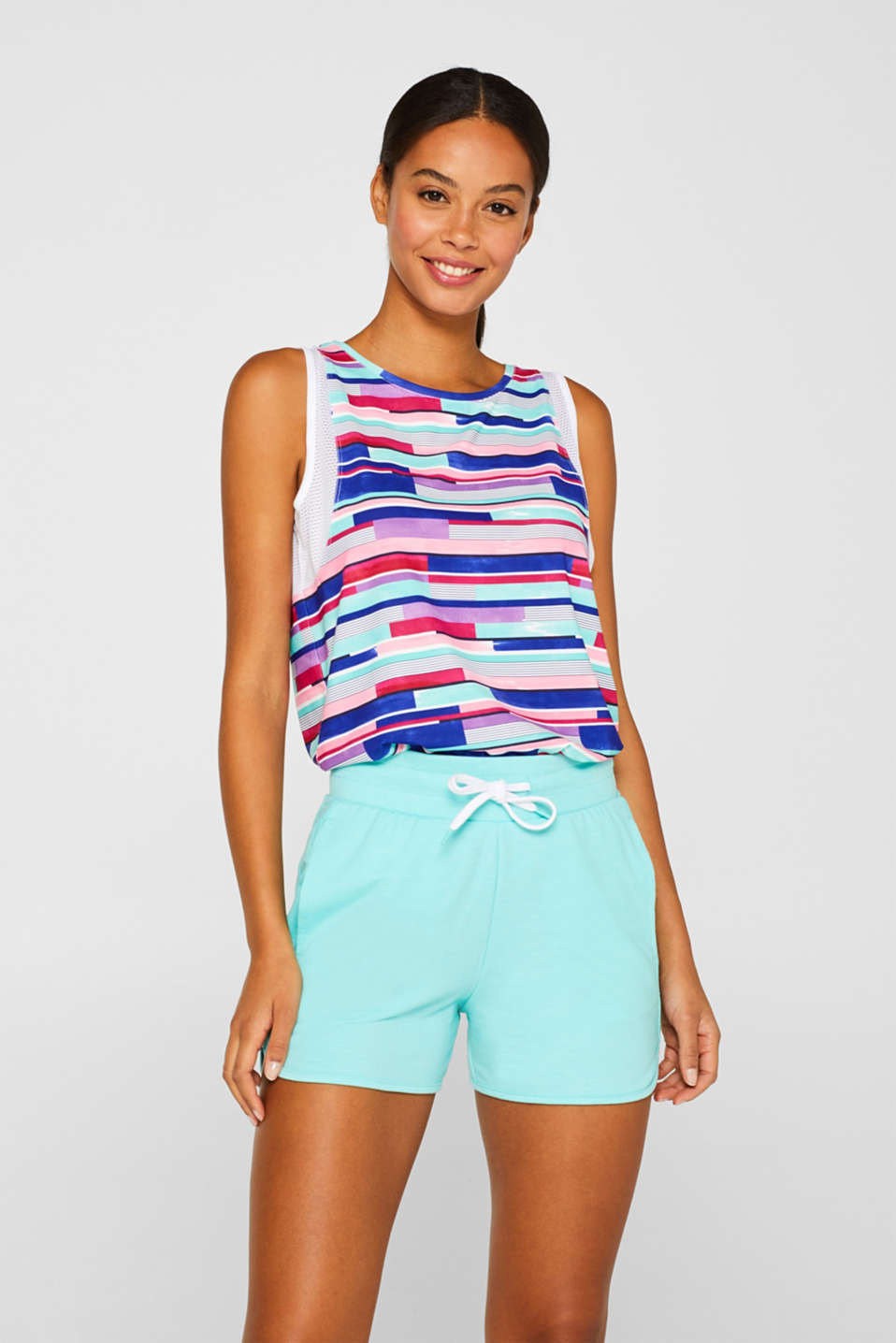 Esprit - Stretch jersey shorts with decorative trims