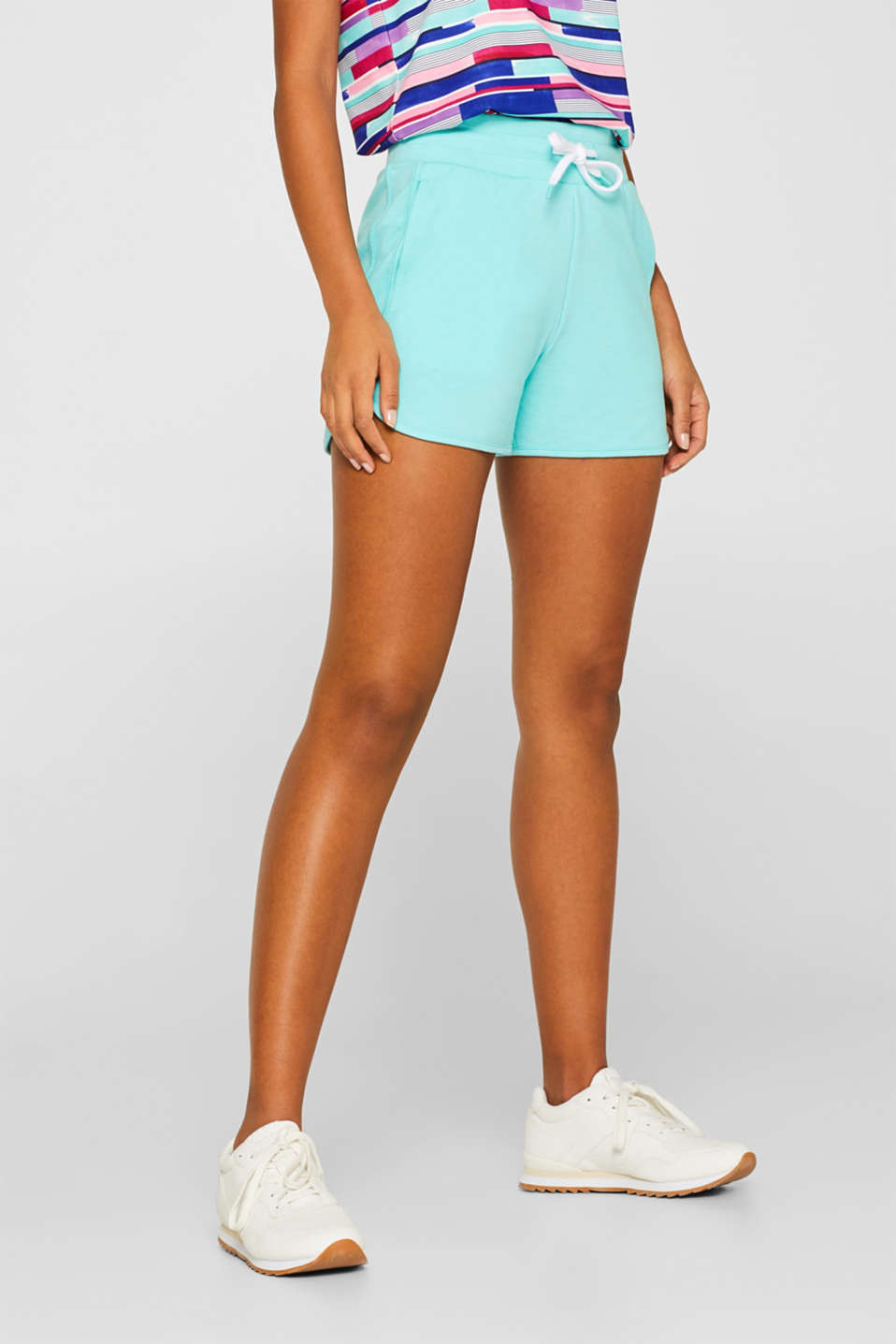 Stretch jersey shorts with decorative trims, LIGHT AQUA GREEN 2, detail image number 6