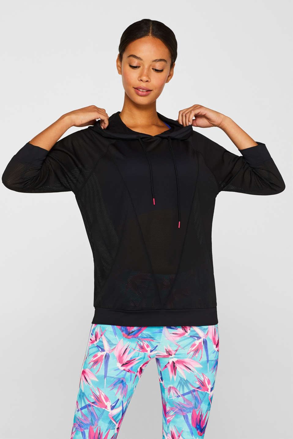 Esprit - Mesh hoodie with a logo print