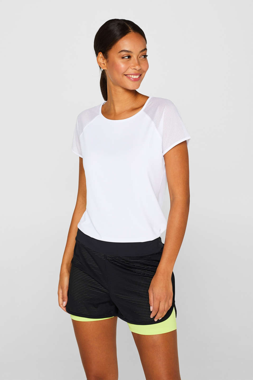 Esprit - Active top with mesh sleeves, E-DRY