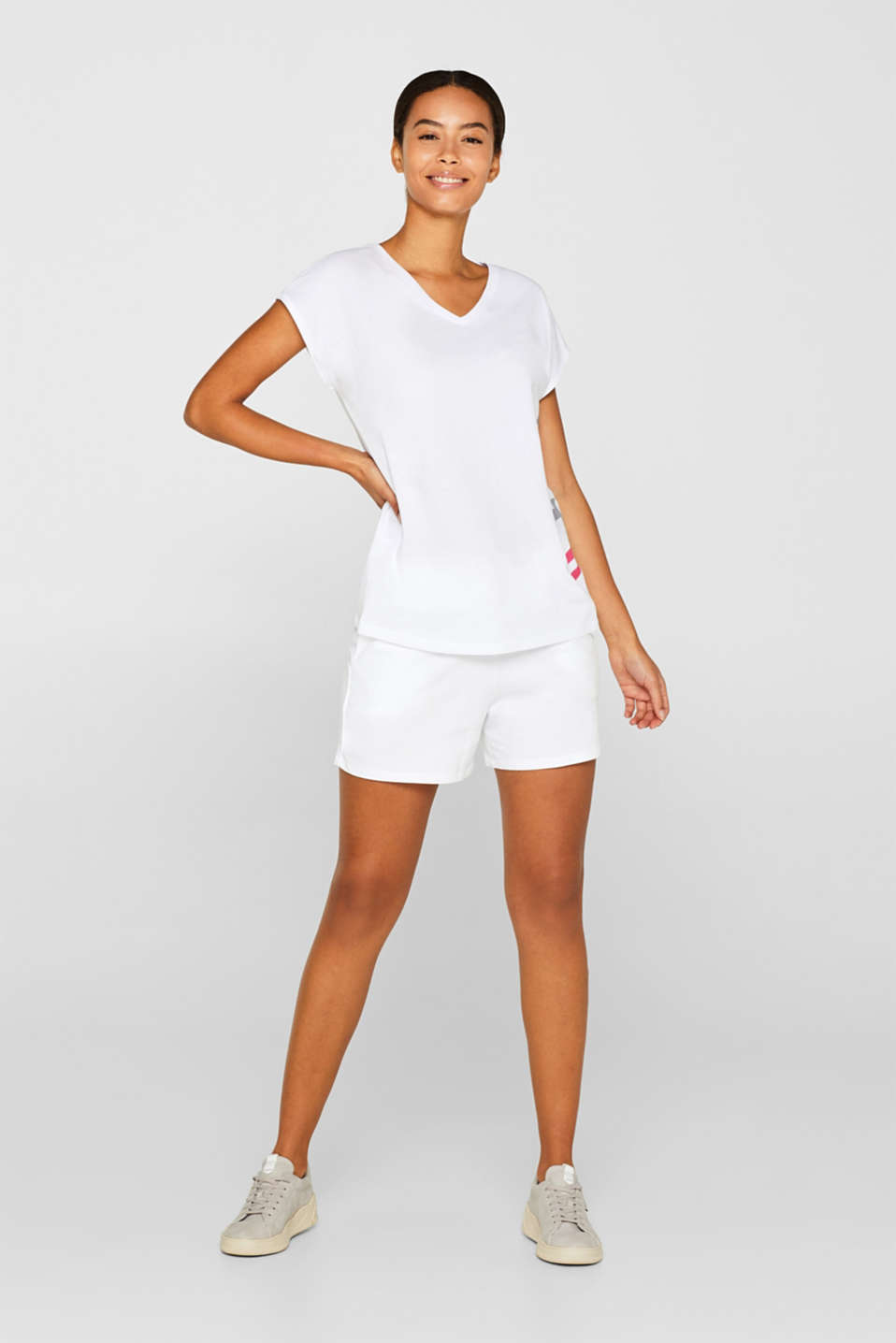 V-neck top with a print and mesh insert, WHITE, detail