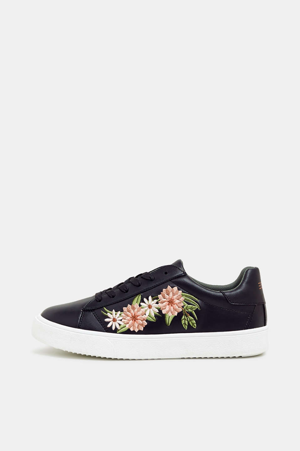 Trainers with floral embroidery, in faux leather