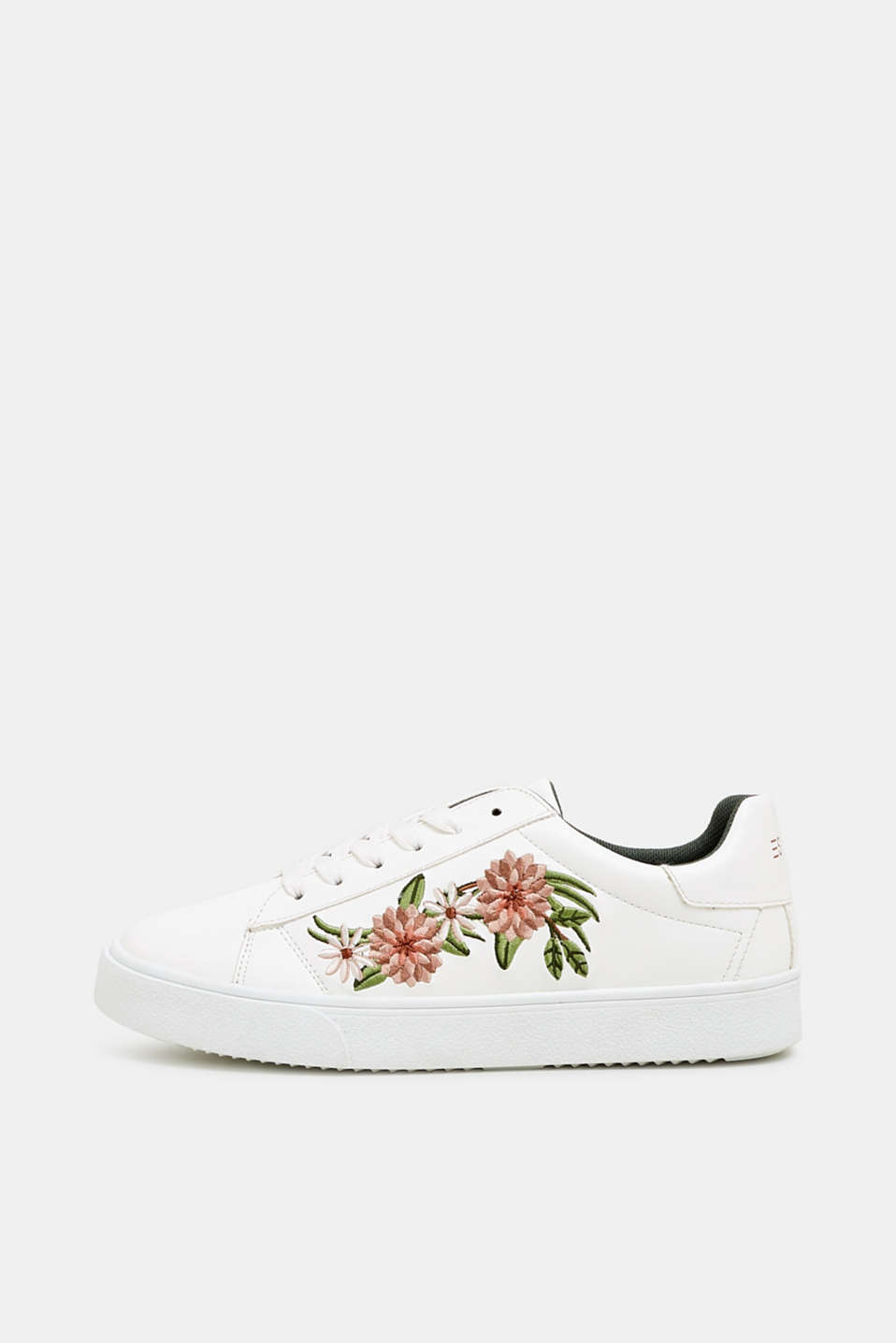 Esprit - Trainers with floral embroidery, in faux leather